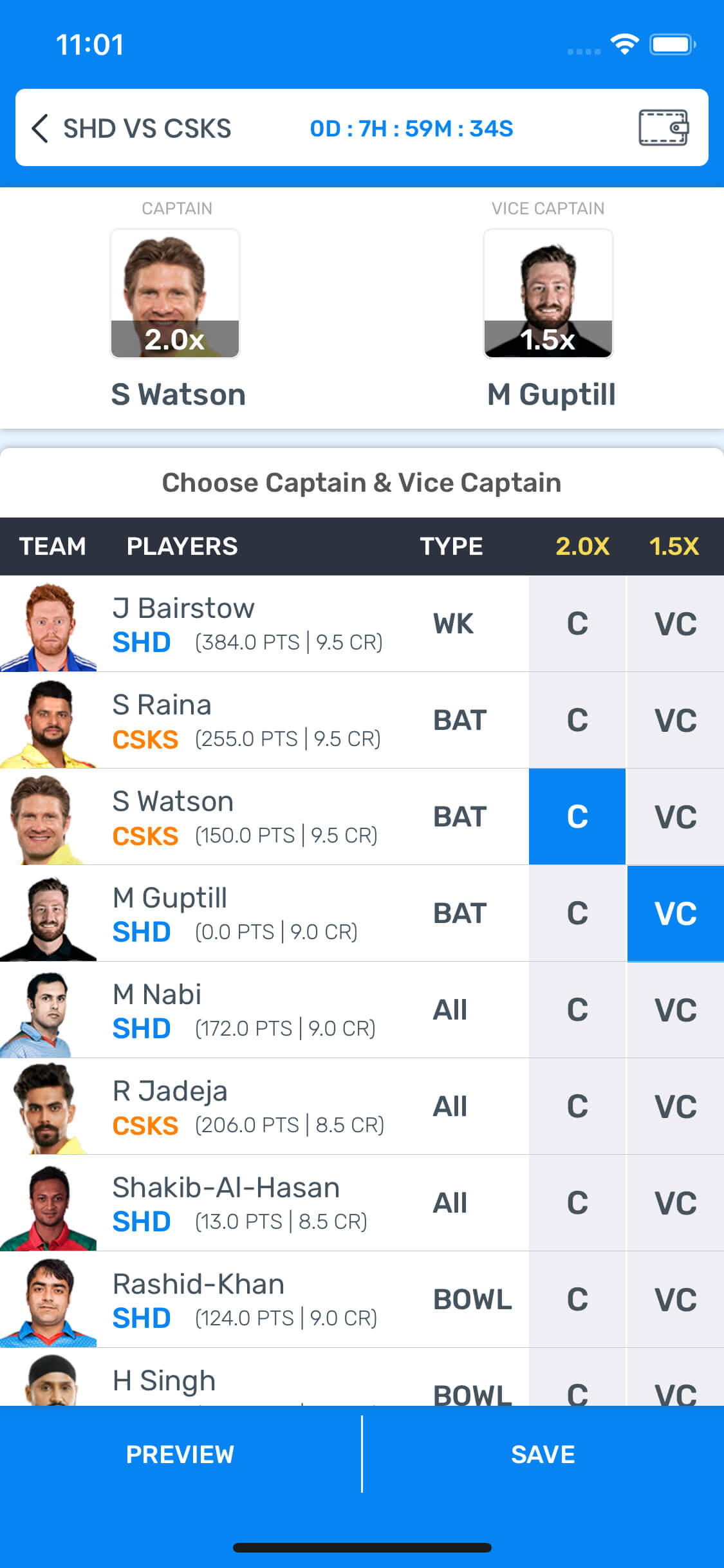 myteam11 ios captain and vice captain select